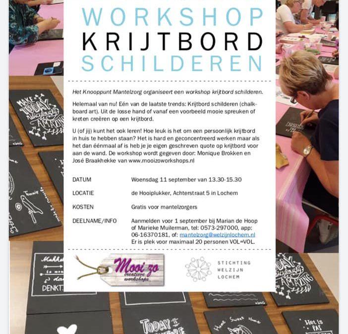 Knooppunt Mantelzorg organiseert: Workshop Krijtbord Schilderen